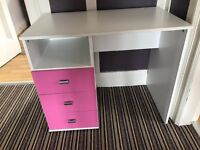 White and pink kids desk with 3 drawers