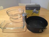 Baking Set - Hand Mixer, Glass Mixing Bowl & Baking Tray, Cake Tray