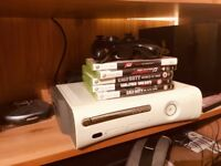 Xbox 360, original, one controller and two games