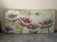 Green and brown flower canvas