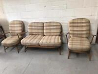 Vintage Ercol 334/2 and 335 (golden dawn styled) suite