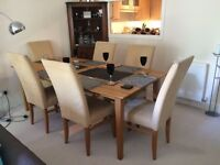 FAMOUS BERRY DESIGN LIGHT OAK DINING TABLE AND SIX CHAIRS