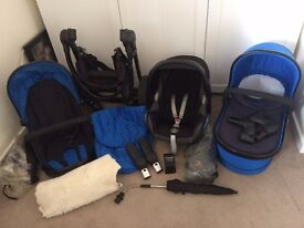 Full Icandy Peach 3 Travel System in Colbalt Blue. Very Good Used Condition. Includes Icandy Extras.