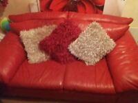 Settees Livingroom bundle. 2 x2 red leather setes. Large rug. 3 flowers vase. Light shade. Voils