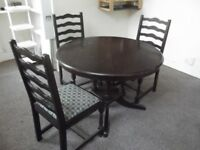 Round Wooden Dining Table with 3 Chairs