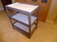 Baby Changing Table (IKEA) - grey wood, EXCELLENT condition, with mat