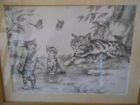 Cat Pencil Drawings in Mounts