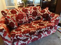 3 Piece Cream & maroon lounge suite,Scotchguard treated,2 yrs old.
