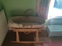 2 wicker Moses baskets on rocking stands