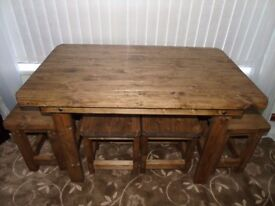 Handmade Wooden Table & Set of Stools- Unique Design!