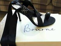 Bourne Collection Black Satin & Crystal Evening Shoes