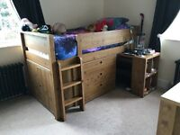 Next Pine Effect Midi Sleeper x 2 - Excellent Condition - With Mattress & Extra Compton Chest