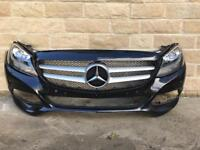 Genuine Mercedes C Class W205 Front Bumper & Pair Of DRL Headlights 2015-2016-