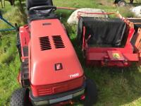 Ride on mower with grass box