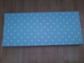 TOY BOX OTTOMAN BLANKET BOX WOODEN REPLACEMENT FOAM CUSHION SEAT TOP LID BLUE WHITE SPOTS REUSE