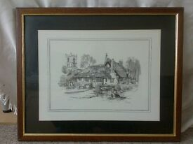 framed print by glenda rae of an alsatian in front of a pub