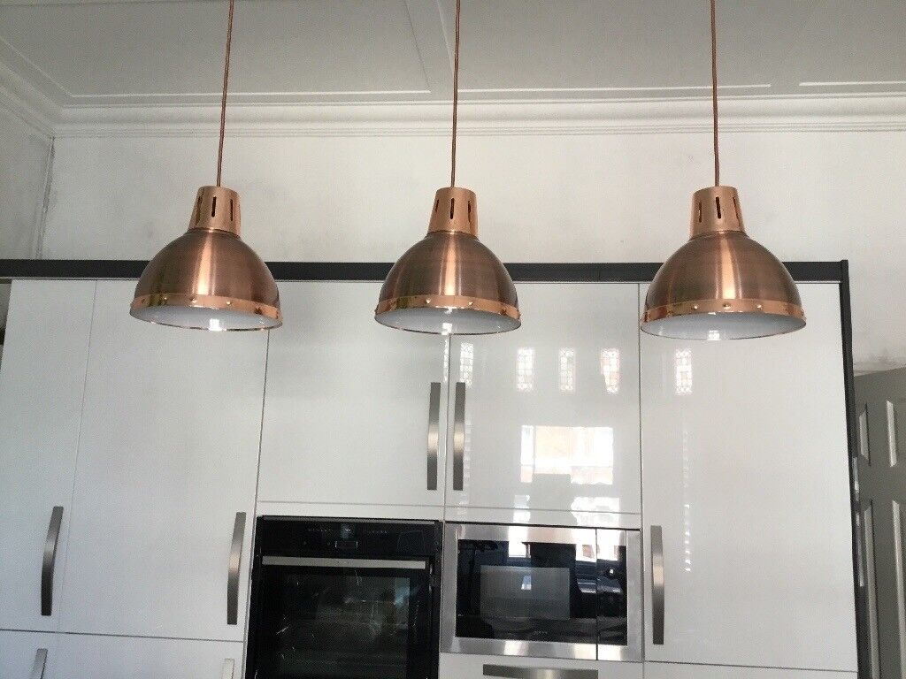 Absolutely Stunning Set Of 3 Gorgeous Copper Pendant Kitchen Lights In Southport Merseyside