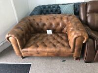 New leather tan chesterfield chair
