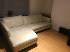 DFS cream leather corner sofa