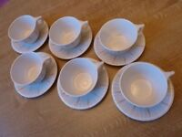 NEW 6 Vintage Ornamin Cups and Saucers – 1950's grey/orange design – Made in Israel