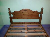 VERY HEAVY SOLID PINE DOUBLE BED FRAME HIGH FOOTEND