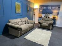 Beautiful brown cord fabric suite. 3 + 1 sofa and chair