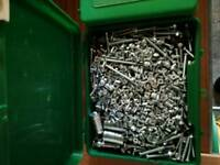 Big box of all size nuts and bolts all new
