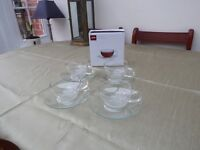 Jumbo Glass Cups & Saucers, New, Boxed La Cafetiere