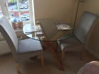 Glass oak solid round table and chairs