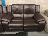 Brown leather 2 seater + Armchair recliners