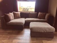 Comfortable large corner sofa and footstool