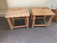 Two small pine tables or bedside tables.