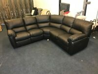 LITTLEWOODS LEIGHTON BLACK REAL LEATHER RECLINER CORNER SOFA 8X8FT 5-6 SEATER EX DISPLAY BROWN