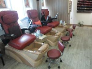 Nail Salon Closing Down Sale / Spa Pedicure Chairs / Manicure Tables / Reception Desk / Spa Beds Everything Must go
