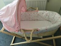 MotherCare Moses Basket, Girls, Pink