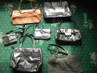7 LEATHER LADIES HANDBAGS, SOME NEW, OTHERS RARELY USED, LIKE NEW