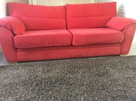 Red sofa, chair and footstool