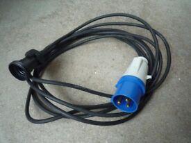 40 x GEWISS GW60004H Single Phase 3 pin 16amp blue commando socket Adapter lead