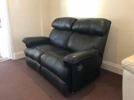Black Faux Leather Recliner 2 Seat