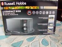 New boxed Russell Hobbs compact flatbed digital microwave, rrp £109,RHFM2001B