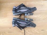 Muddy Fox Size 8 Cycling Shoes with cleats and pedals. Shoes used only once for BMX race.