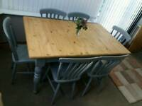 PINE EXTENDING TABLE & 6 CHAIRS BEAUTIFUL SHABBY CHIC PAINTED F&B PLUMMET