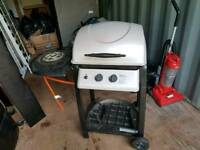 Gas bbq with gas bottle and hob