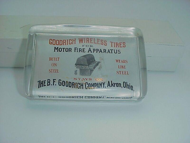 FIRE DEPARTMENT GOODRICH TIRES ADVERTISING PAPERWEIGHT GLASS PORCELAIN