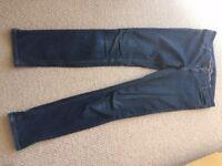 Ladies size 12, Miss Selfridge, Long dark blue skinny jeans, from pet and smoke free home