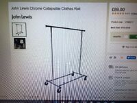 John Lewis Chrome Collapsible Clothes Rail Used