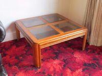 Coffee Table, wood & glass top