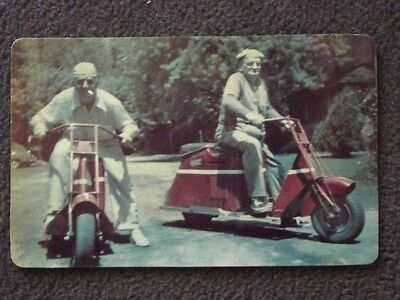 ELDERLY COUPLE IN GENEVA RIDING THEIR SCOOTERS IN 1948 VTG COLOR PHOTO