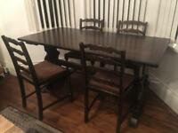 Oak refectory dining table and four chairs - old charm Jaycee style