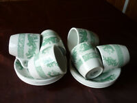 'Green Dragon' 5 Espresso size Coffee Cups/saucers